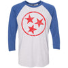 Adult Red Hollow Tri Star on a Vintage Royal Sleeve Raglan