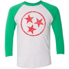 Adult Red Hollow Tri Star on a Envy Green Sleeve Raglan