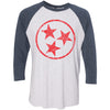 Adult Red Hollow Tri Star on a Indigo Blue Sleeve Raglan