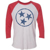 Adult Navy Hollow Tri Star on a Vintage Red Sleeve Raglan