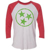 Adult Green Hollow Tri Star on a Vintage Red Sleeve Raglan