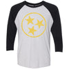 Adult Yellow Hollow Tri Star on a Black Sleeve Raglan
