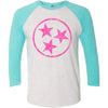 Adult Pink Hollow Tri Star on a Tahiti Blue Sleeve Raglan
