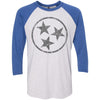 Adult Dark Grey Hollow Tri Star on a Vintage Royal Sleeve Raglan