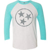 Adult Light Grey Hollow Tri Star on a Tahiti Blue Sleeve Raglan