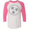 Adult Light Grey Hollow Tri Star on a Vintage Pink Sleeve Raglan