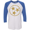 Adult Gold Hollow Tri Star on a Vintage Royal Sleeve Raglan