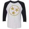 Adult Gold Hollow Tri Star on a Black Sleeve Raglan
