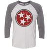 Adult Maroon & Dark Grey Tri Star on a Premium Heather Sleeve Raglan