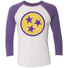 Adult Yellow & Purple Tri Star on a Purple Rush Sleeve Raglan