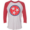 Adult Red & Navy Blue Tri Star on a Vintage Red Sleeve Raglan