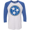 Adult Royal Blue & Dark Grey Tri Star on a Vintage Royal Sleeve Raglan