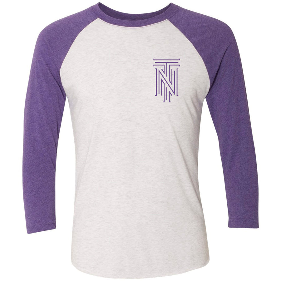 Adult Purple & Gold American Flag Tri Star Purple Rush Sleeve Raglan
