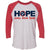 Adult Hope Comes From Home Red Raglan - 100% of profit to Cookeville Putnam County Tornado Relief Fund