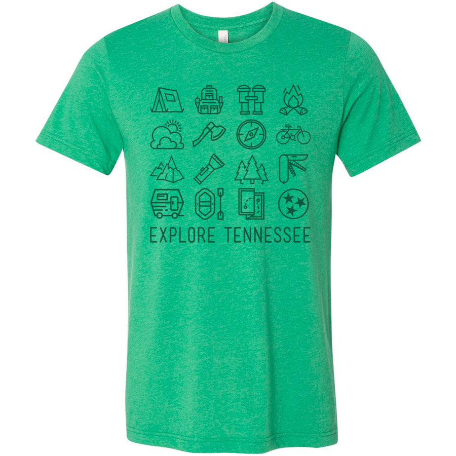 Clearance Adult Explore Tennessee on a Heather Kelly Green T-Shirt