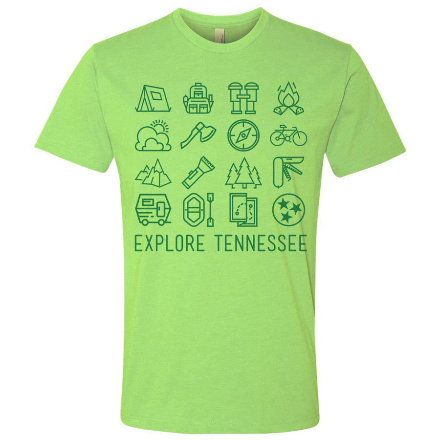 Adult Explore Tennessee on a Green T-Shirt