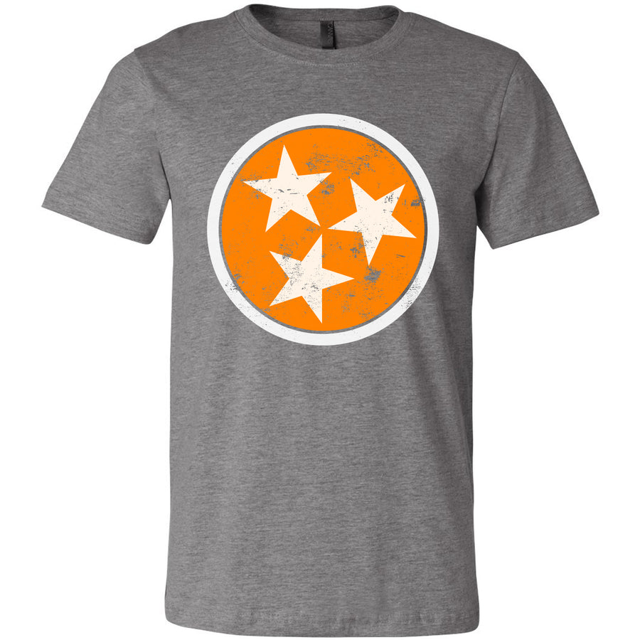 Adult Distressed Orange Tri Star on a Grey T-Shirt