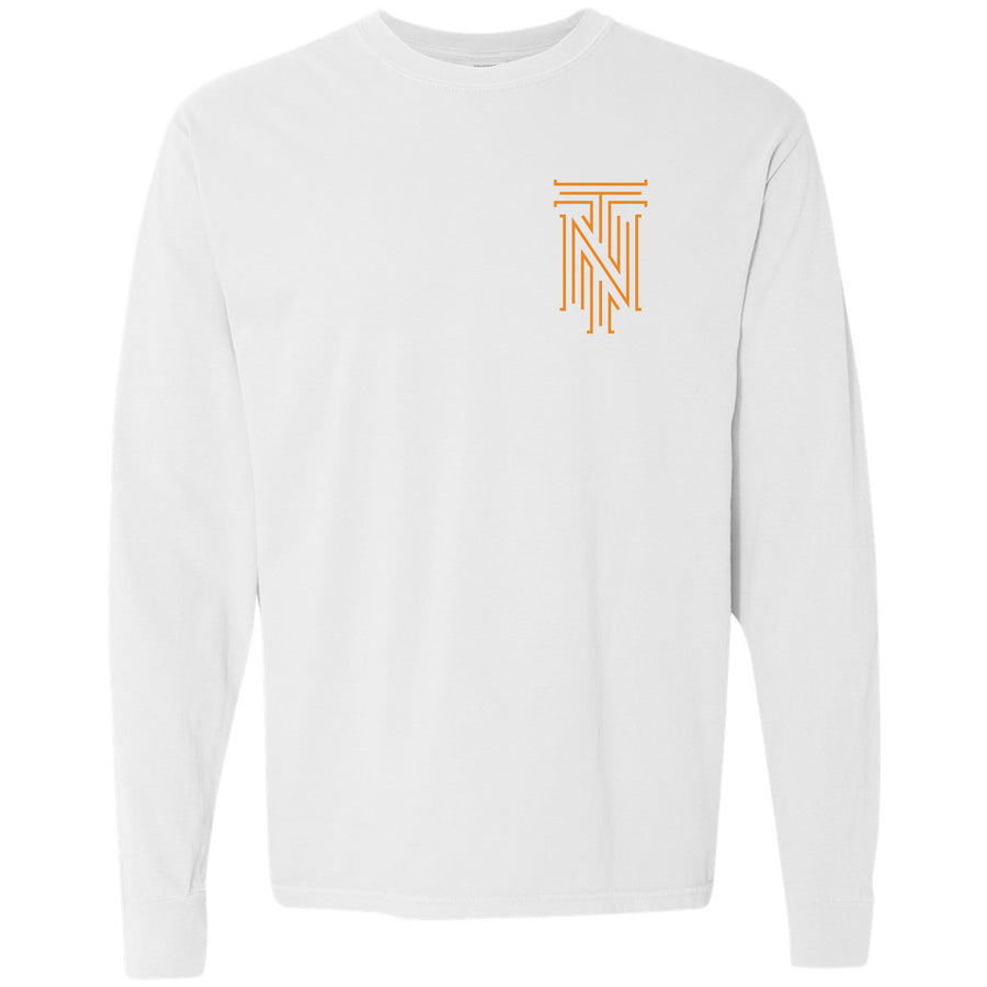 Clearance Adult Orange TN Front Only White Long Sleeve T-Shirt