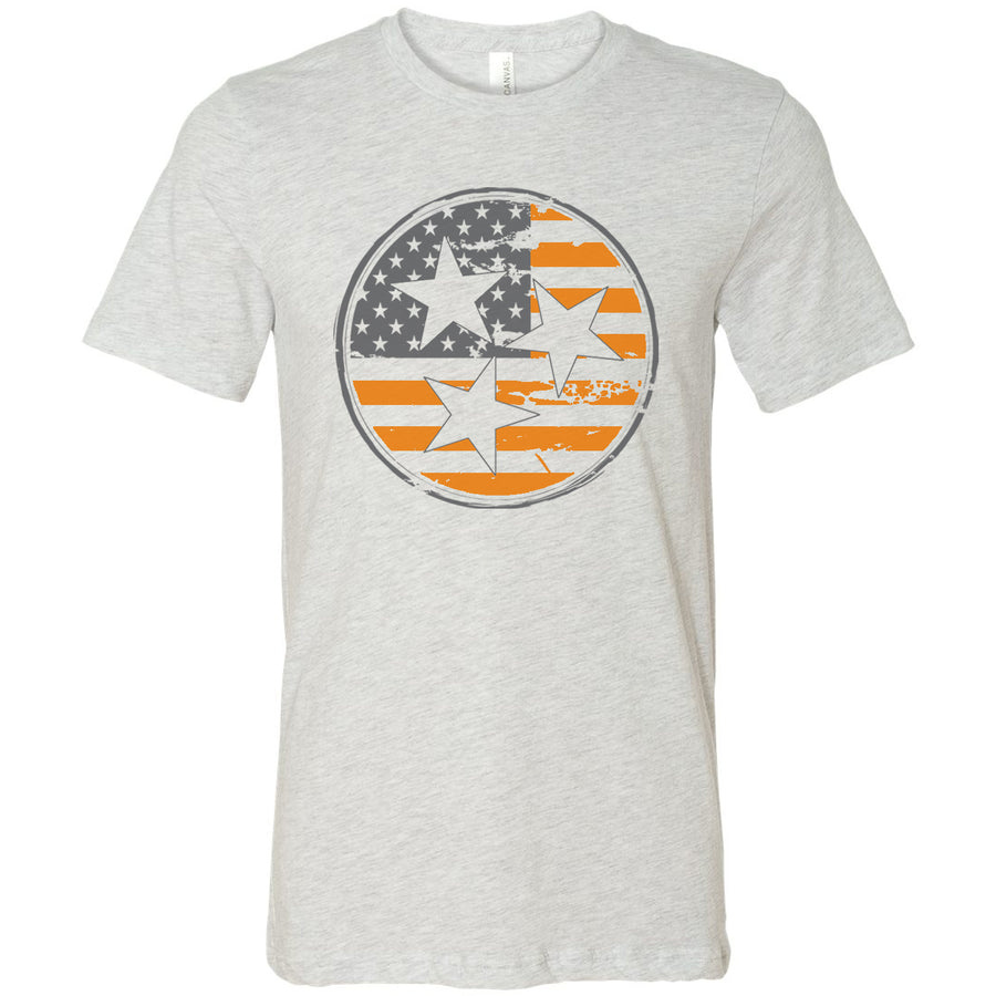 Clearance Adult Orange American Flag Tri Star Ash T-Shirt