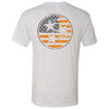 Adult Orange American Flag Tri Star Heather White T-Shirt
