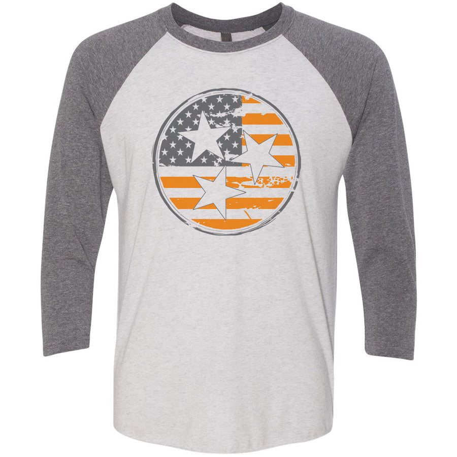Clearance Adult Orange American Flag Tri Star on a Grey Sleeve Raglan