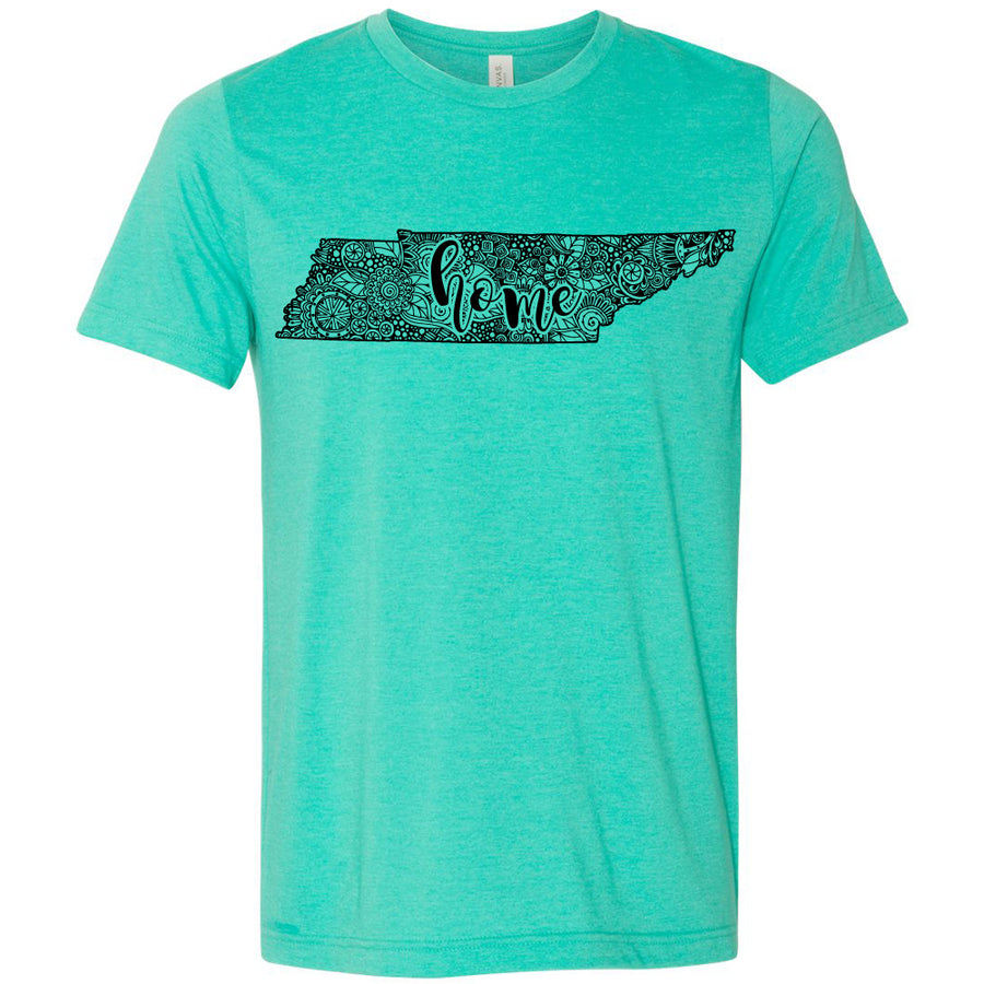 Adult Tennessee Home Floral on a Heather Sea Green T-Shirt