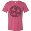 ADULT FLORAL Tri-Star ON A HEATHER Raspberry T-SHIRT
