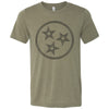Adult Tri Star Outline on a Heather Olive T-Shirt