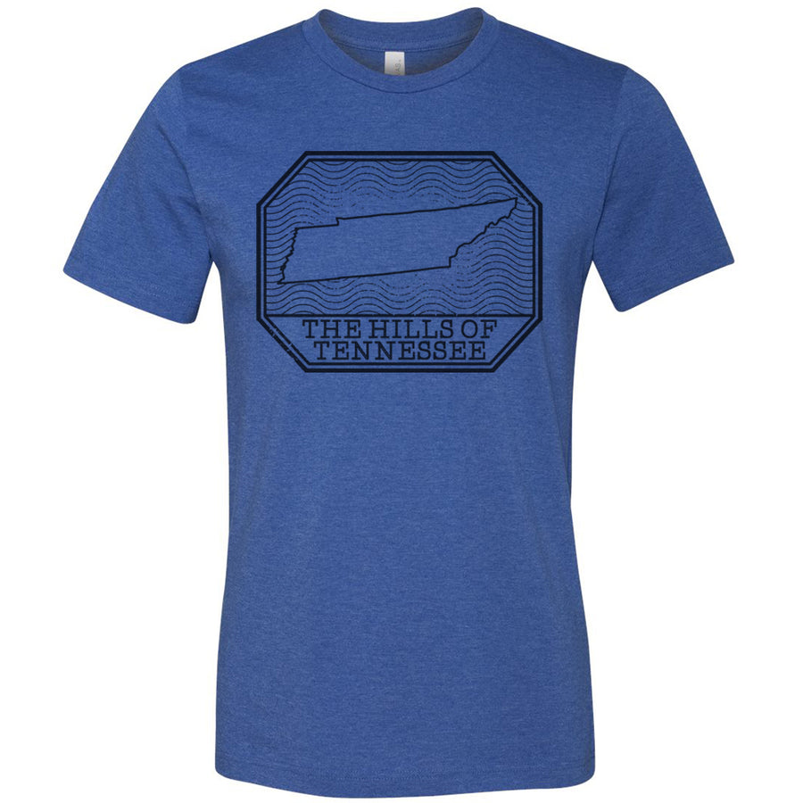 Adult Hills of Tennessee on a Heather Royal T-Shirt