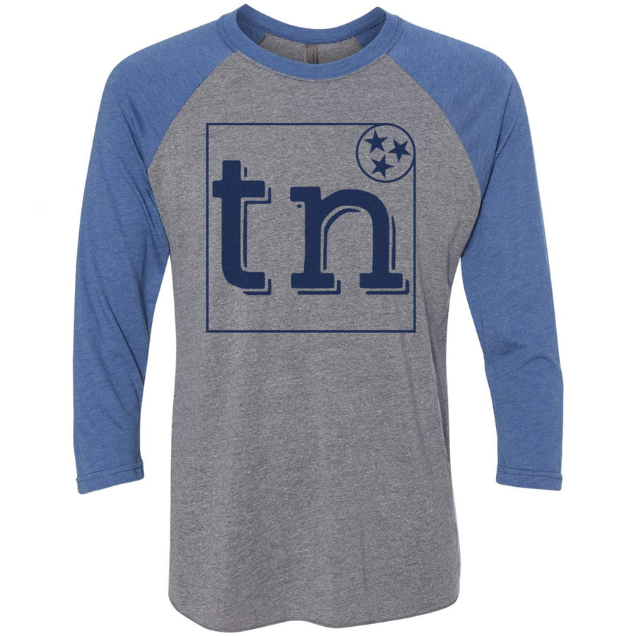 Clearance Adult TN Box Tri Star on a Vintage Royal Sleeve Raglan