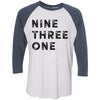 Clearance Adult Nine Three One on a Indigo Sleeve Raglan