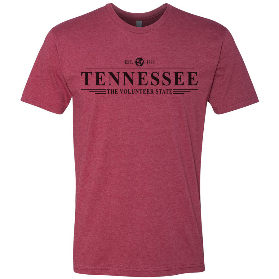 Adult Tennessee Est. 1796 on a Cardinal T-Shirt
