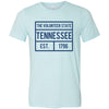 Adult Tennessee Box Logo on a Heather Ice Blue T-Shirt