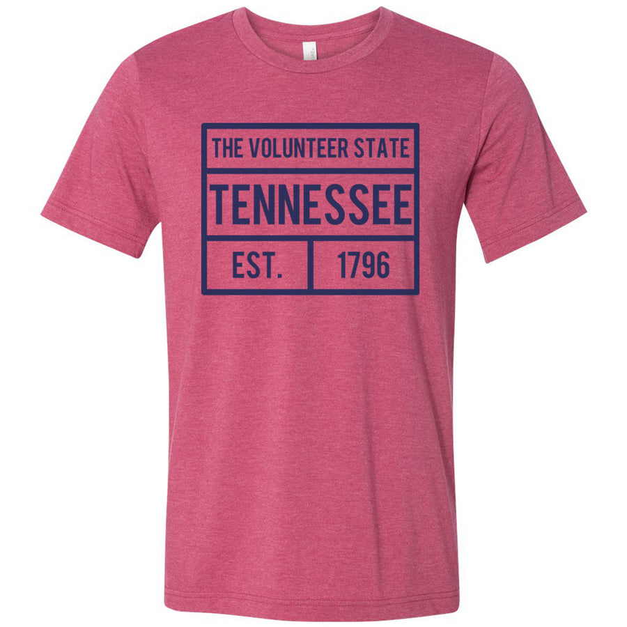 Adult Tennessee Box Logo on a Heather Raspberry T-Shirt