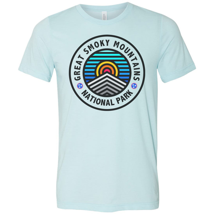 Adult Great Smoky Mountains on a Heather Ice Blue T-Shirt