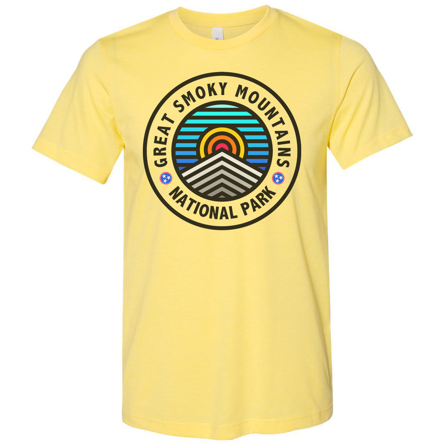 Adult Great Smoky Mountains on a Heather Yellow T-Shirt