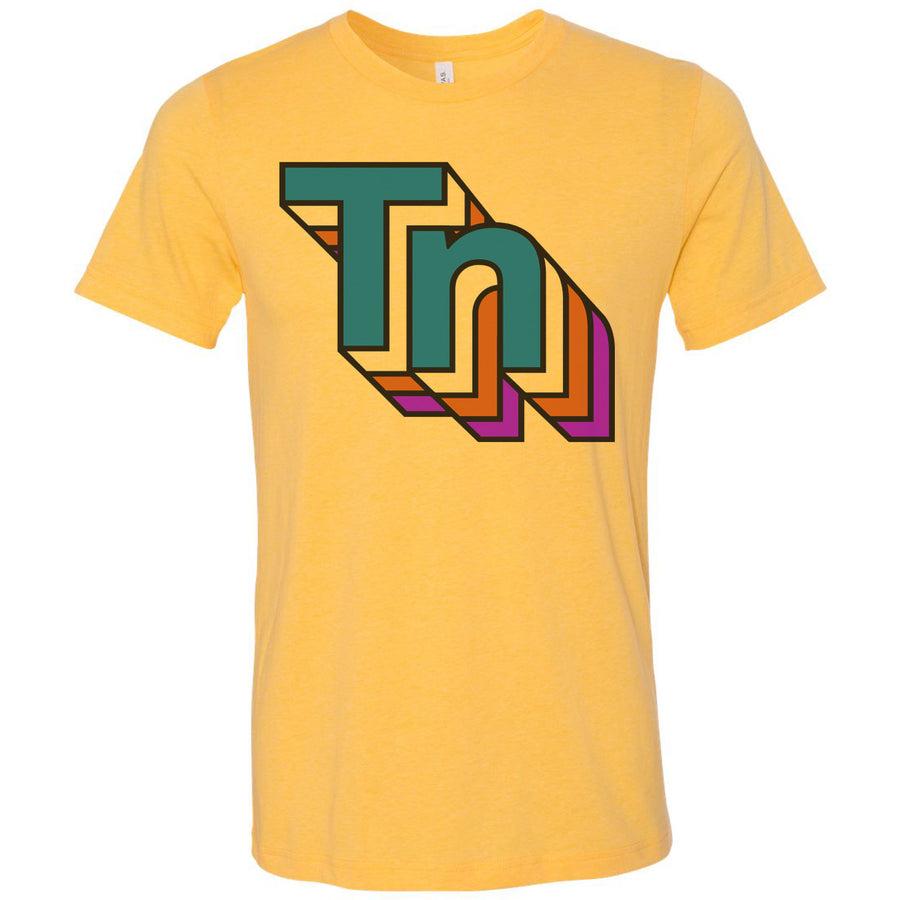Adult Retro TN Rainbow on a Heather Yellow Gold T-Shirt