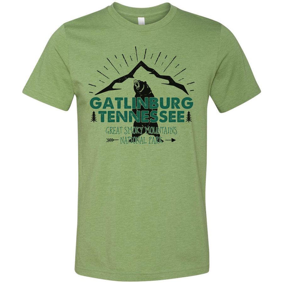Adult Gatlinburg Tennessee on a Heather Green T-Shirt