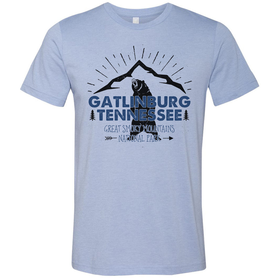 Adult Gatlinburg Tennessee on a Heather Blue T-Shirt