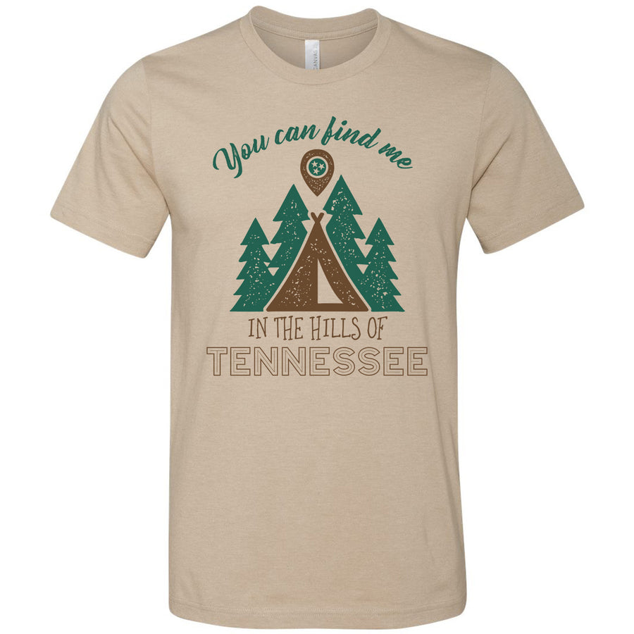 Adult In The Hills Of Tennessee on a Heather Tan T-Shirt