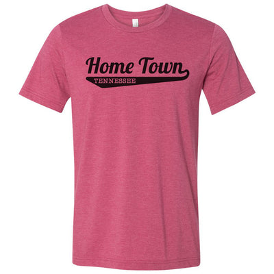 Adult Baseball Font T-Shirt Customized With Your Home Town