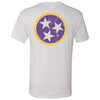 Adult Purple and Gold Tri Star Heather White T-Shirt