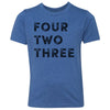 Kids Four Two Three 423 Area Code T-Shirt Royal