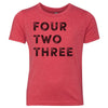 Kids Four Two Three 423 Area Code T-Shirt Red