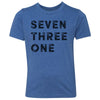 Kids Seven Three One 731 Area Code T-Shirt Royal