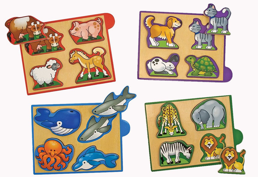 Melissa & Doug Animals Mini Puzzle Packs (4 pieces)