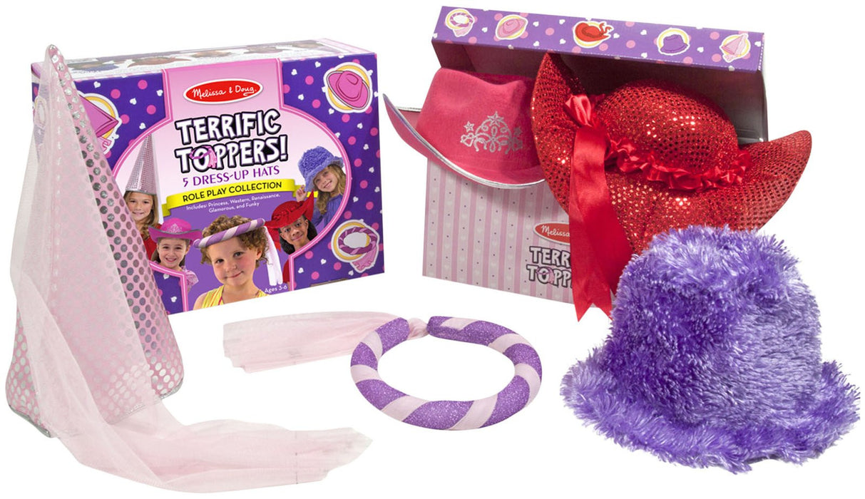 Melissa & Doug Terrific Toppers! Dress-Up Hats-Pink/Purple