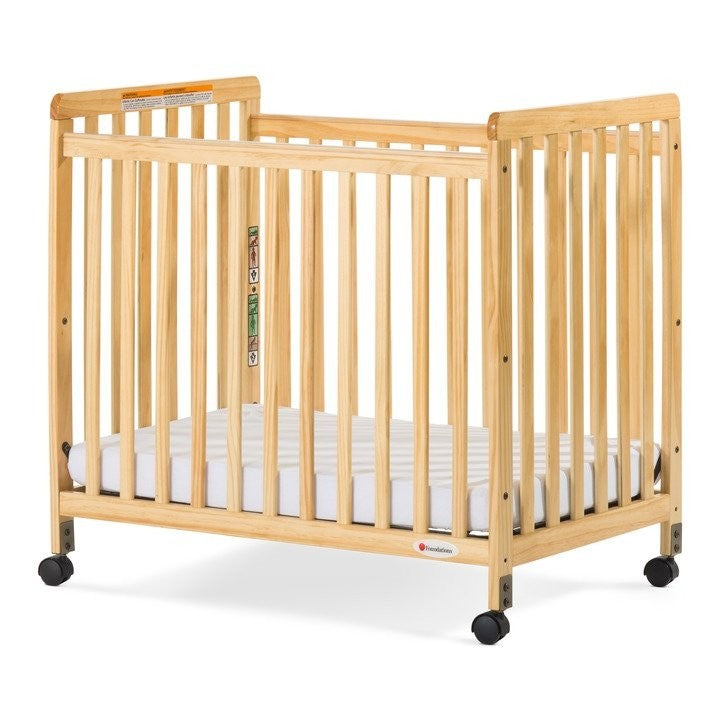 SafetyCraft Compact Fixed-Side Crib with Adjustable Mattress Board, Clearview