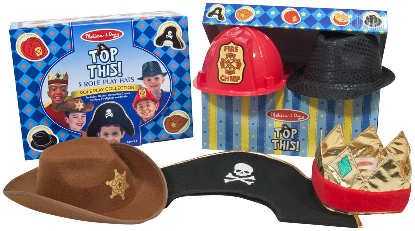 Melissa & Doug Top This! Role Play Hats-Brown/Black