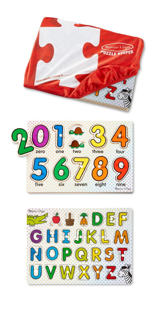 Melissa & Doug  Keeper ABCs and 123s Wooden Peg Puzzles